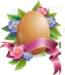 Easter egg with green leaves and flowers, eps-10