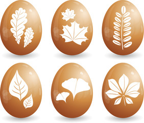 Easter egg with leaves, set, eps-10