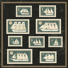 Set of postage stamp with sailfishs