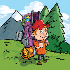 Cartoon Hiker in the forest