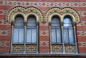 Ornate windows of Greek orthodox church, Vienna, Austria