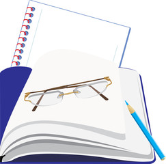 Notepad and glasses. Vector