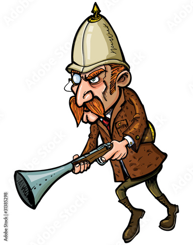 Cartoon hunter with a blunderbuss