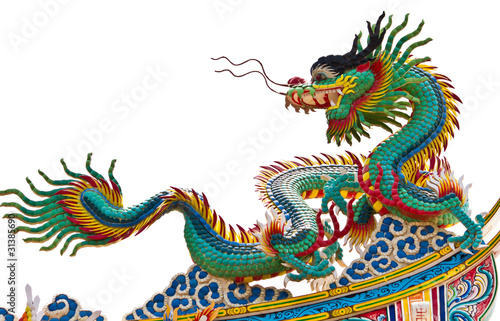 Poster Statue of dragon over white background