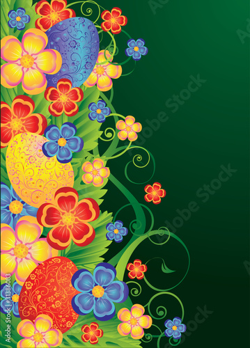 Easter floral banner, vector illustration