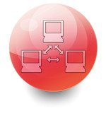 "Red Shiny Orb Button ""Network"""