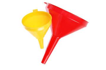 red and yellow plastic funnel on white
