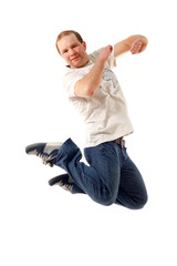 jumping young man isolated on white