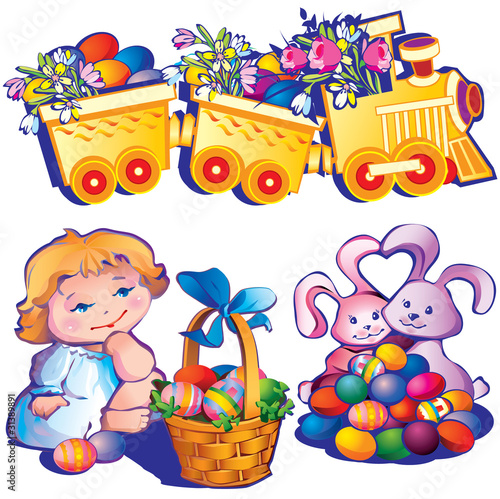 Easter set. Happy easter. Vector art-illustration.