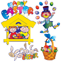Easter set. Happy easter. Vector art-illustration.