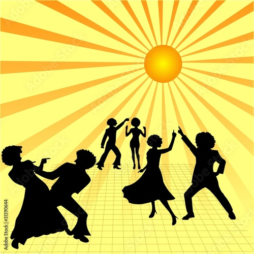 Illustration of disco party, couples are dancing