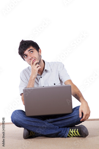 Man thinking sitted on the floor