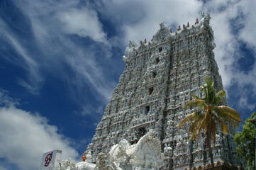 Suchindram temple dedicated to the gods Shiva, Vishnu and Brahma