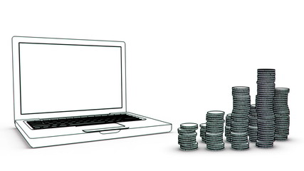 laptop with coins