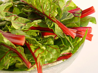 Bowl of chard on side