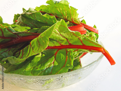 Bowl of chard with leaf