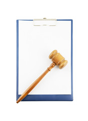 Gavel on clipboard isolated on white