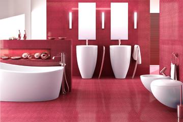 Badezimmer in rot
