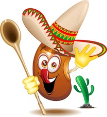 Fagiolo Messicano Cartoon-Mexican Bean-Vector