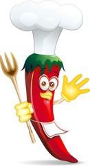 Peperoncino Piccante Cuoco Cartoon-Red Hot Chili Pepper Cook