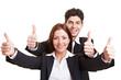 Business-Paar hält Daumen hoch