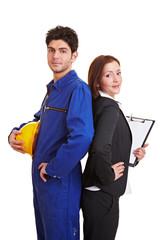 Handwerker und Geschäftsfrau