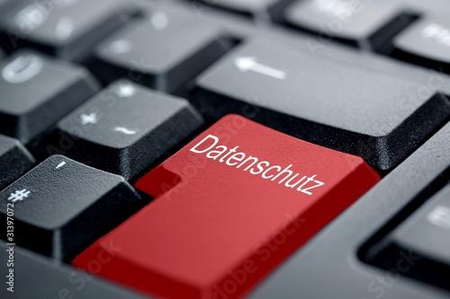 Leinwandbild Motiv Datenschutz rote Taste