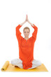series or yoga photos. young meditating woman on yellow pilated