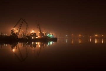 Port in the middle of the calm night