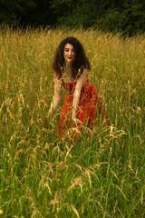 Pretty woman in meadow