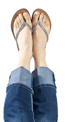 Woman Wearing Blue Jeans and Flip Flops