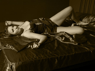 Monochrome Woman on Bed