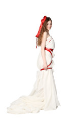 Bride Wrapped With Red Ribbons Posing