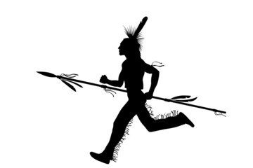 indian warrior running with spear
