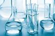 laboratory glassware toned blue