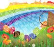 Rainbow Easter landscape