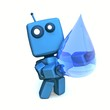 3D Blue Robot with Huge Transparent Water Drop