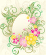 Easter frame with flowers and eggs, vector illustration