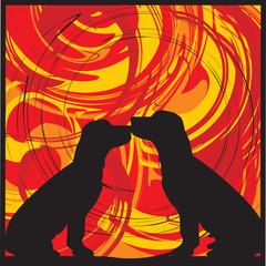 2 dogs. Vector illustrations