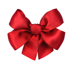 Red satin gift bow. Isolated on white
