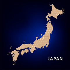 Hand with Japan Map With Seismic Epicenter.
