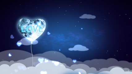 Blue Heart Shape Balloon Flying