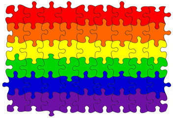 Gay rainbow flag puzzle/jigsaw