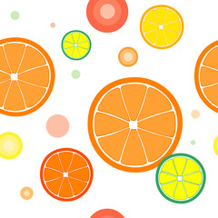 Vector seamless with color oranges slices