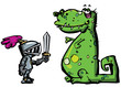 Cartoon knight in armour facing a dragon