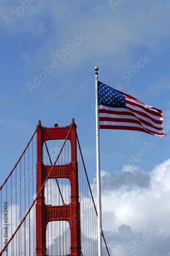 Golden Gate Bridge & American Flag