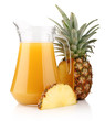Jug of pineapple juice with fruits isolated