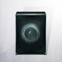 Vector musical speaker icon on a gray background. EPS10