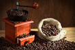 Coffee Grinder with coffee beans sack