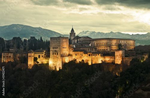 Alhambra Palace at Dusk